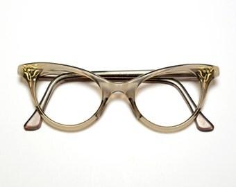 vintage eyewear 50s 60s cat eye glasses retro eyeglasses gold deteal clear gray frames 1950 1960 plastic frames