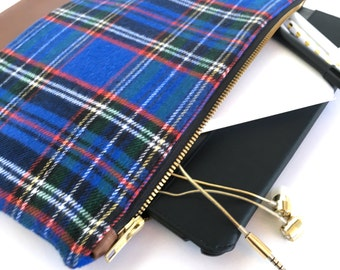 Case - Blue & Black Plaid with Brown Faux Leather - iPad / Tablet / Nook / Kindle / eReader / Pencil / Makeup Case