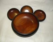 BEAUTIFUL WOOD BOWLS- Salad Bowl Set- 4-  Mid Century Modern Style- Black and Brown