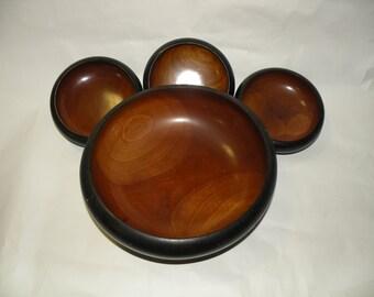 BEAUTIFUL WOOD BOWLS- Salad Bowl Set- 4- Mid Century Modern Style- Vintage Retail- Black and Brown