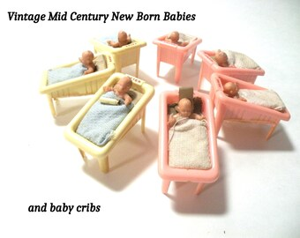 Vintage Baby Cribs and New Born Babies Mid Century 1940s Nursery Hospital Beds Renwal 2 Boys 3 Girls
