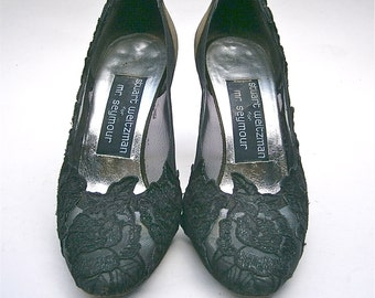 Vintage Black Lace Ladies Pumps Shoe High Heels Sparkle Olive Green Silk Mesh Netting Stuart Weitzman Mr Seymour Women Size 5 Sheen Applique