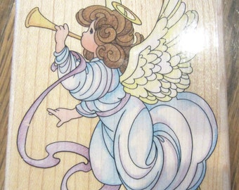 Stampendous 1996 Trumpet Angel Up008 Wood Mount Rubber Stamp