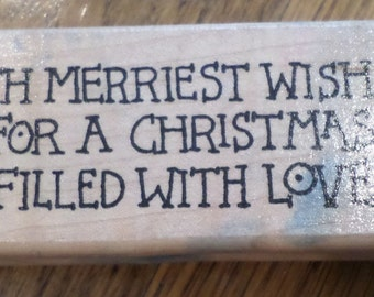 Azadi Earles Inc F209 With Merriest Wishes For Christmas Wooden Rubber Stamp