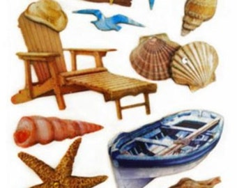 Handmade Glitter Sticker Scrapbooking Tropical Vacation Beach Theme Sea shell