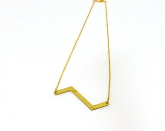 20% OFF VALENTINES SALE Vintage inspired chevron bar necklace brass bohemian