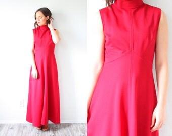 Vintage maroon pink maxi dress // floor length dress // sleeveless dress // prom dress // party dress // summer maxi dress // fancy dress