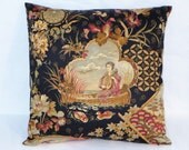 """Japanese Pictorial Pillow, Scenic Oriental Print, Black Gold Rust Pink, Geisha Lady in Boat, Flowers Ducks, 18"""",  Zipper Cover, Ready Ship"""