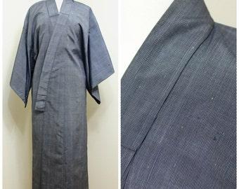 Japanese Vintage Kimono. Silk Woven Ikat Kasuri Robe. Blue Stripe. (Ref: 1150)