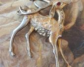 Old Vintage Rhinestone Reindeer Pin cool