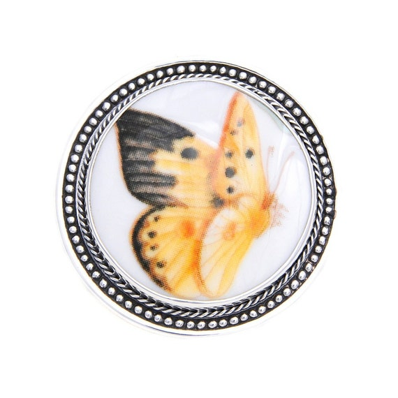 Broken China Jewelry Butterfly Meadow Orange Sulphur Butterfly Sterling Brooch with Pendant Bale