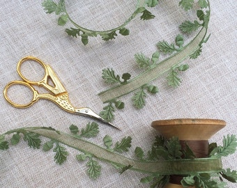 Oak Leaf and Acorn Ribbon. Wedding Ribbon. Christmas Wrapping. Leaf Ribbon. Botanical Ribbon