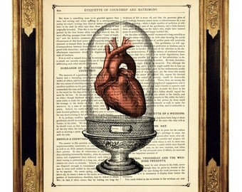 Anatomical Heart under Glass Dome - Vintage Victorian Book Page Art Print Steampunk
