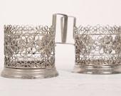 Lot of 2 pc Russian SOVIET Granenny Tea Stakan Silver plated PODSTAKANNIK Glass-Holder Soviet FILIGREE Skan metalwork
