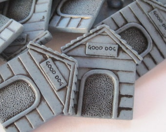 Blue Dog House Buttons Lot of 4