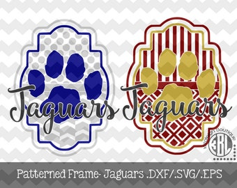 Jaguars Patterned Frame design INSTANT DOWNLOAD in dxf/svg/eps for use with programs such as Silhouette Studio and Cricut Design Space