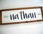 Rustic Name Sign . Tribal Nursery Decor . Custom Baby Sign . Woodland Arrow Name Sign . Woodland Nursery Decor . Baby Name Sign . Rustic