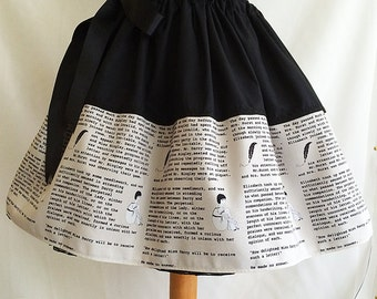 Pride And Prejudice Gift, skirt, uk literary clothing, book skirt, litetary skirts by rooby lane