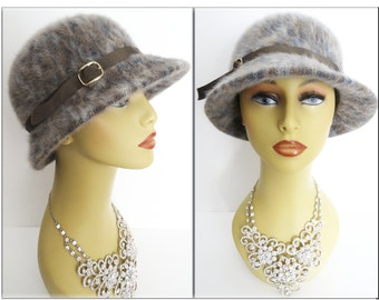 Vintage1950s Hat//Kangol//60s Hat// Garden Party//Mad Men// Made in England//Rockabilly//Gray//Brown//Blue