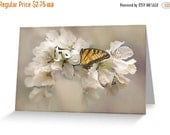Sale 20% off Small note card, White blossoms 4x6 blank inside, with Kraft envelope, professional printing - special pricing - only 4 left at