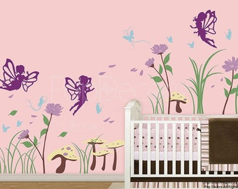 Baby Girls Nursery Room Wall Decals Girls Bedroom Removable Stickers  - Fairy in the Garden -Designed by Pop Decors pt0257