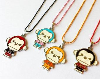 Sale! Cute Monkey Enamel Charm Pendant Necklace