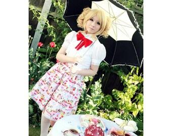 Pink strawberry ice cream sundae rara skirt with lace trim. Sweet lolita skirt. any size