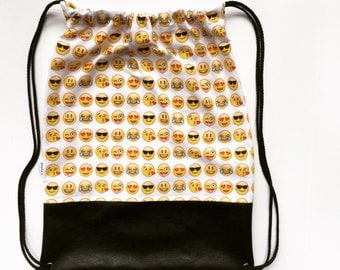 Emoji drawstring backpack. fabric backpack for or everyday. Girl's emoji birthday gift under 25. three popular Emoji patterns to choose from