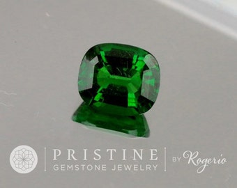 Tsavorite Green Garnet January Birthstone 6.8 x 5.6 MM Cushion Shape