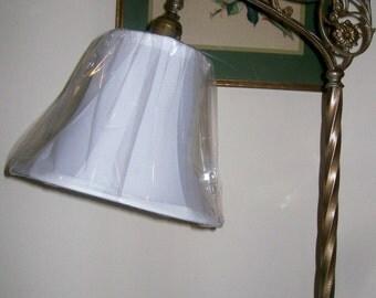 New PETITE White Silk Shantung Lampshade for Bridge Floor Lamp