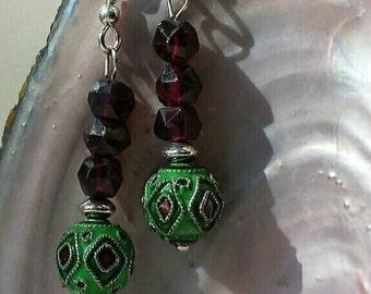 Sterling Silver Cloissone Garnet Dangle Earrings