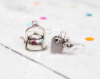 Tea Earrings, Teapot Jewellery, Nickel Free Hooks