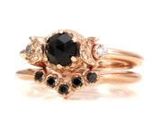 Rose Gold Moon Enagement Ring Set - Black Rose Cut Spinel with Black and White Diamonds