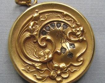 Antique Gold Filled Flower Locket Paste Stones Art Nouveau Pendant Jewelry Signed SBC Co  Circa 1910