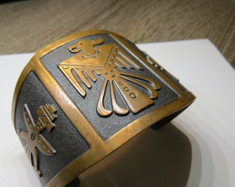 Vintage Pawn or Bell Trading Native American Indian Cuff bracelet with Thunderbird