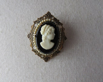 Vintage Small Faux Black  Cameo Brooch or Pin Costume Jewelry
