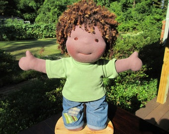 "Waldorf Doll Boy 15"" - READY to Ship - Custom Hair, Brown Skin"