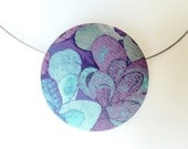 Pretty Liberty of London Fabric Button Brooch and Necklace Combo - Modern Floral Green Purple Blue