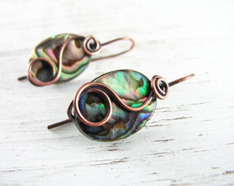 Wire Wrapped Earrings Copper Earrings Abalone Earrings Wire Wrapped Jewelry Hook Earrings Copper Wire Wrapped Abalone Jewelry