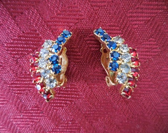 Vintage 1960s to 1970s Gold Tone Red/Clear/Blue Pronged Rhinestones Clip on Earrings Non Pierced Small Patriotic Americana Sparkly