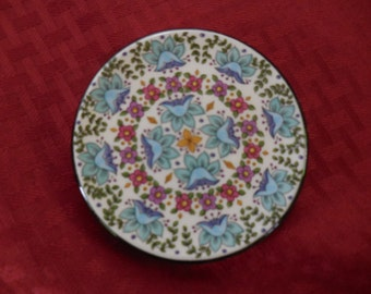 Vintage 1970s to 1980s Ceraplat Handmade in Spain Small/Tiny/Little Decorative Plate Wall Hanging Flowers Pink/Blue/Yellow/Green Floral Mini