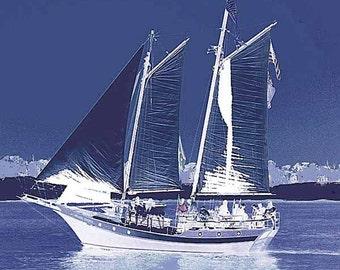 Sailing, 12x12 Indigo Blue and White Reverse Photo