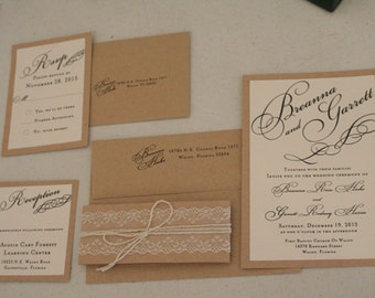 Vintage Wedding Invitation Suite, Lace, Twine, French Wedding, Romantic, Unique, Christian, Elegant, Shabby Chic, Belly Band, Color Options