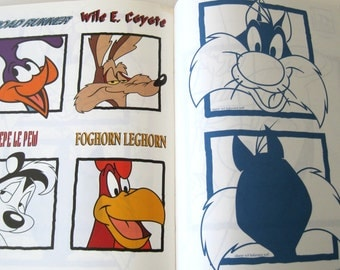 Looney Tunes Iron On Transfer Book for Fabric Paint Men Women Children Tweety Bird, Bugs Bunny, Syvester, Wily Coyote Leisure Arts 1628 1995