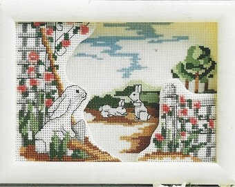 """90s Lois Thompson """"Bunnies"""" Cross Stitch Kit by Designs for the Needle Shadow Box with Frame Easter Cross Stitch Kit Birthday Gift for Her"""