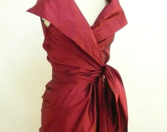 Maria Severyna Burgundy Dupioni Wrap Mother of the Bride Dress - available in many colors