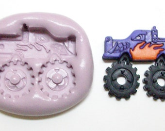 Monster truck Mold #976 - silicone mold, craft mold, porcelain mold, jewelry mold, fimo mold, clays mold, playdoh mold