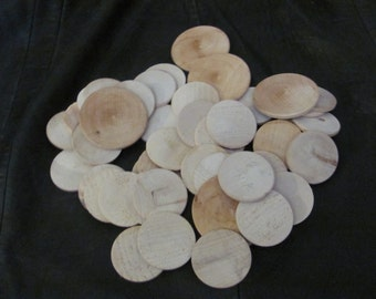 Assorted Unfinished Unpainted Wooden Discs Lot of 45