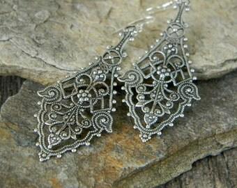 Long dangle earrings filigree drop earrings victorian style earrings bohemian jewelry unique earrings