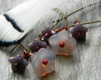 Long flower earrings kidney earwire purple glass earrings floral earrings beaded earrings beaded jewelry